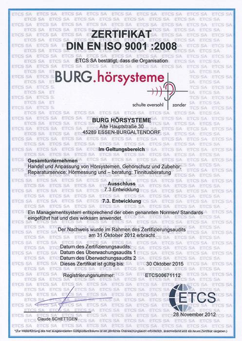 Über uns - Zertifikate - BURG Sehen und Hören